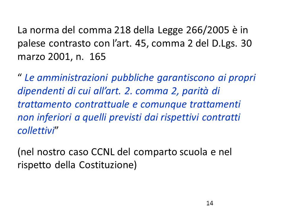 """La norma del comma 218 della Legge 266/2005 è in palese contrasto con l'art. 45, comma 2 del D.Lgs. 30 marzo 2001, n. 165 """" Le amministrazioni pubblic"""