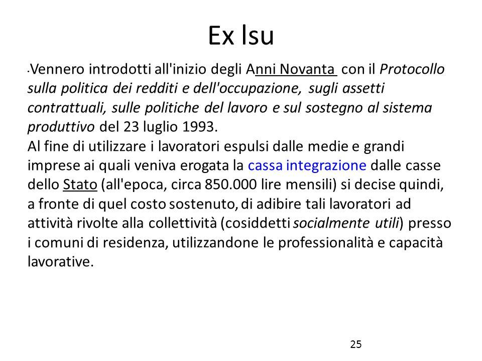 Ex lsu Vennero introdotti all'inizio degli Anni Novanta con il Protocollo sulla politica dei redditi e dell'occupazione, sugli assetti contrattuali, s