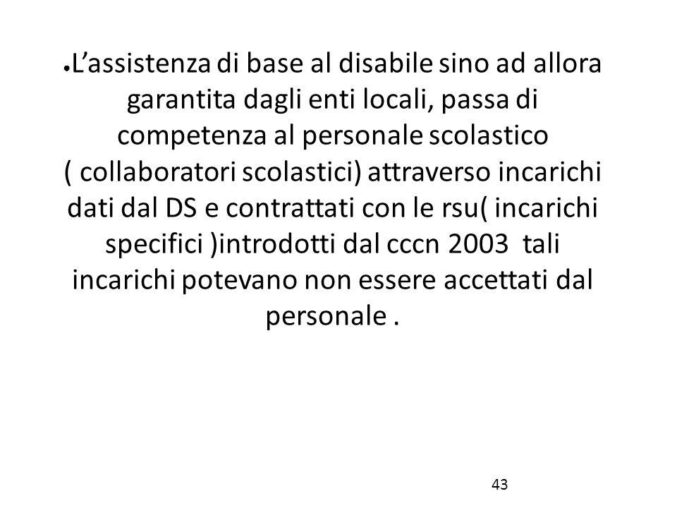 ● L'assistenza di base al disabile sino ad allora garantita dagli enti locali, passa di competenza al personale scolastico ( collaboratori scolastici)