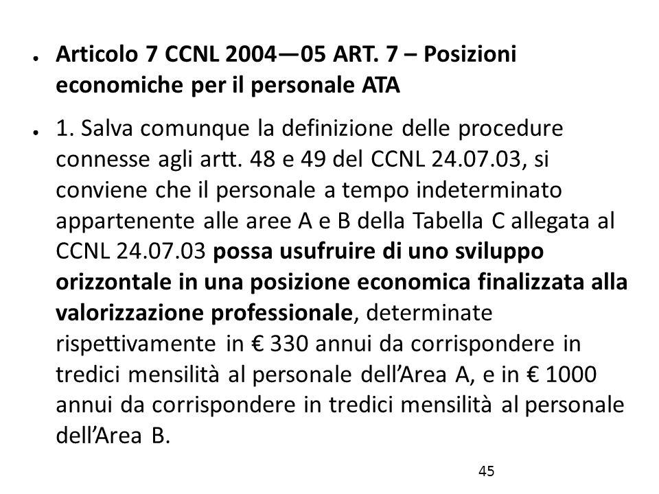 ● Articolo 7 CCNL 2004—05 ART. 7 – Posizioni economiche per il personale ATA ● 1. Salva comunque la definizione delle procedure connesse agli artt. 48