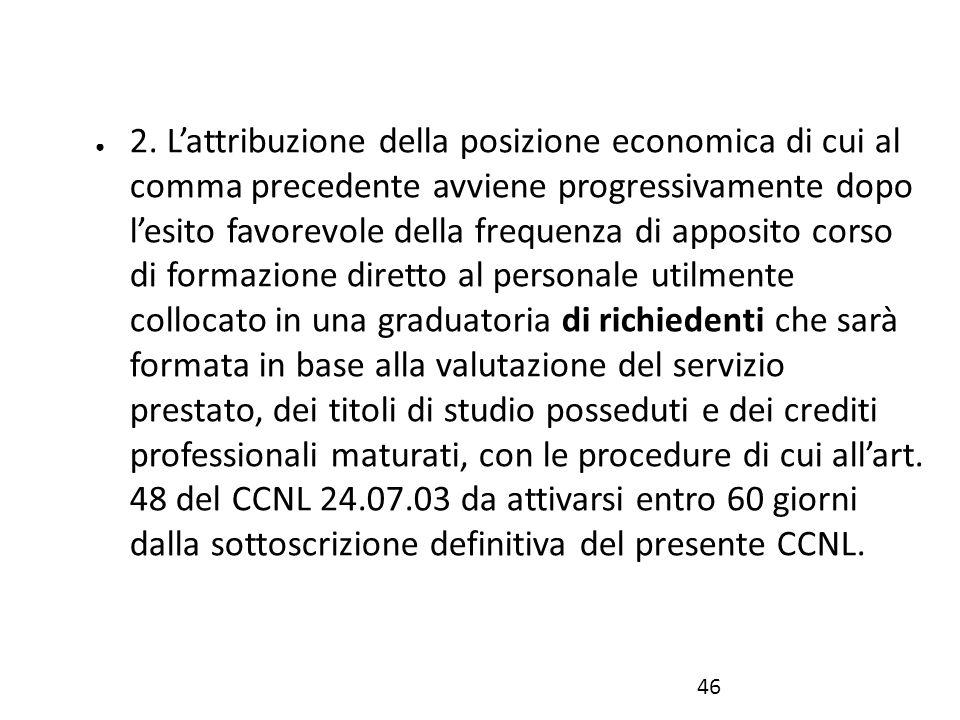 ● 2. L'attribuzione della posizione economica di cui al comma precedente avviene progressivamente dopo l'esito favorevole della frequenza di apposito