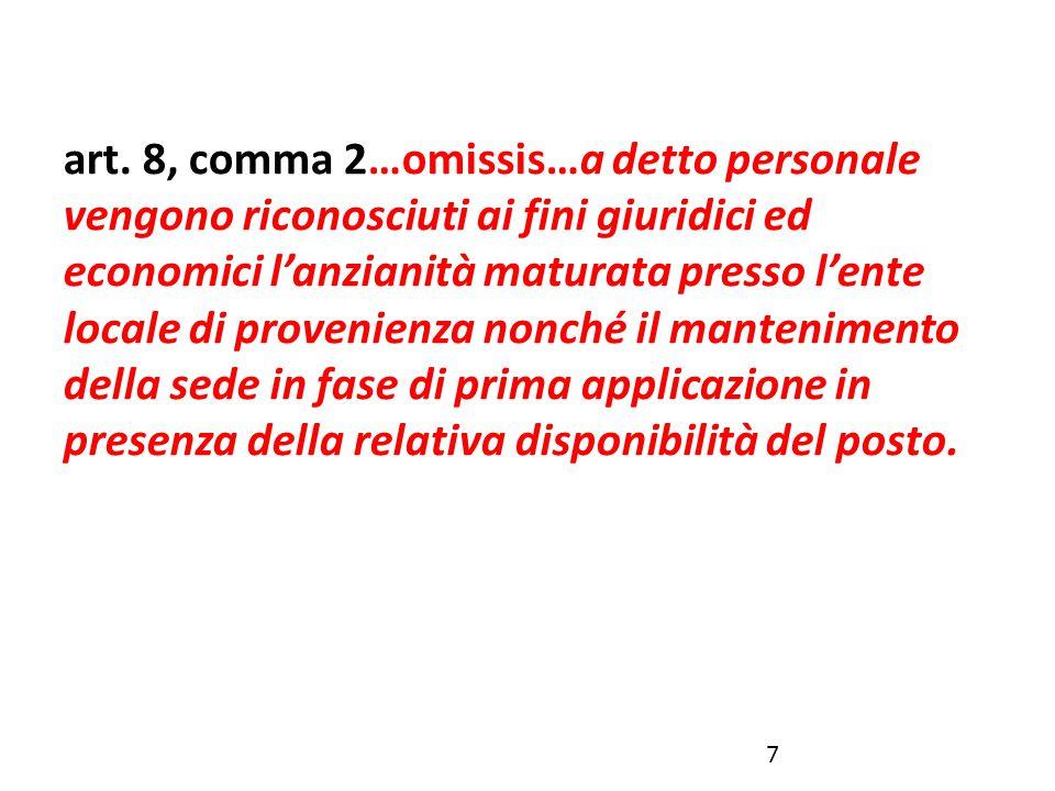 art. 8, comma 2…omissis…a detto personale vengono riconosciuti ai fini giuridici ed economici l'anzianità maturata presso l'ente locale di provenienza