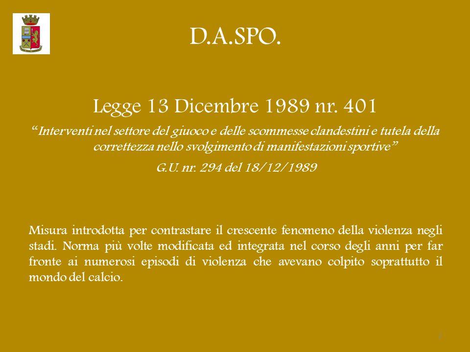 """D.A.SPO. Legge 13 Dicembre 1989 nr. 401 """"Interventi nel settore del giuoco e delle scommesse clandestini e tutela della correttezza nello svolgimento"""