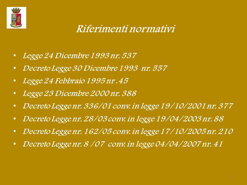Riferimenti normativi Legge 24 Dicembre 1993 nr. 537 Decreto Legge 30 Dicembre 1993 nr. 557 Legge 24 Febbraio 1995 nr.45 Legge 23 Dicembre 2000 nr. 38