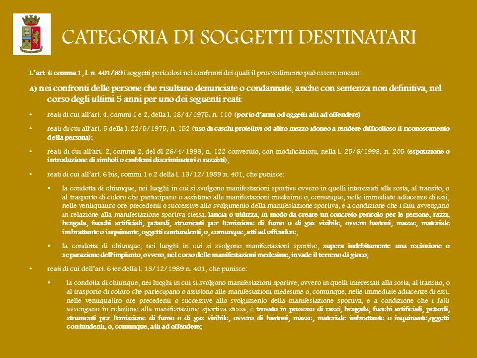 CATEGORIA DI SOGGETTI DESTINATARI L'art. 6 comma 1, l. n. 401/89 i soggetti pericolosi nei confronti dei quali il provvedimento può essere emesso: A)