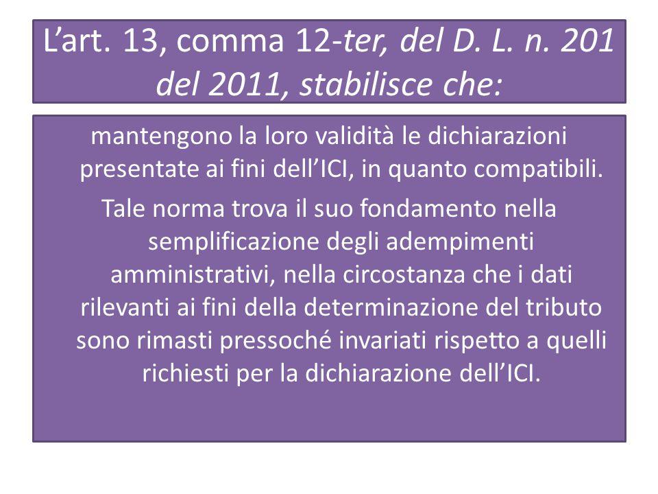L'art.13, comma 12-ter, del D. L. n.