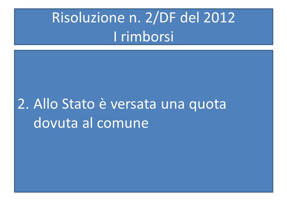 Risoluzione n. 2/DF del 2012 I rimborsi 2.Allo Stato è versata una quota dovuta al comune
