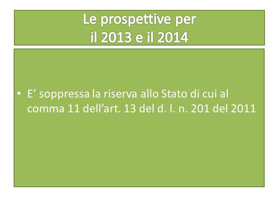 E' soppressa la riserva allo Stato di cui al comma 11 dell'art. 13 del d. l. n. 201 del 2011