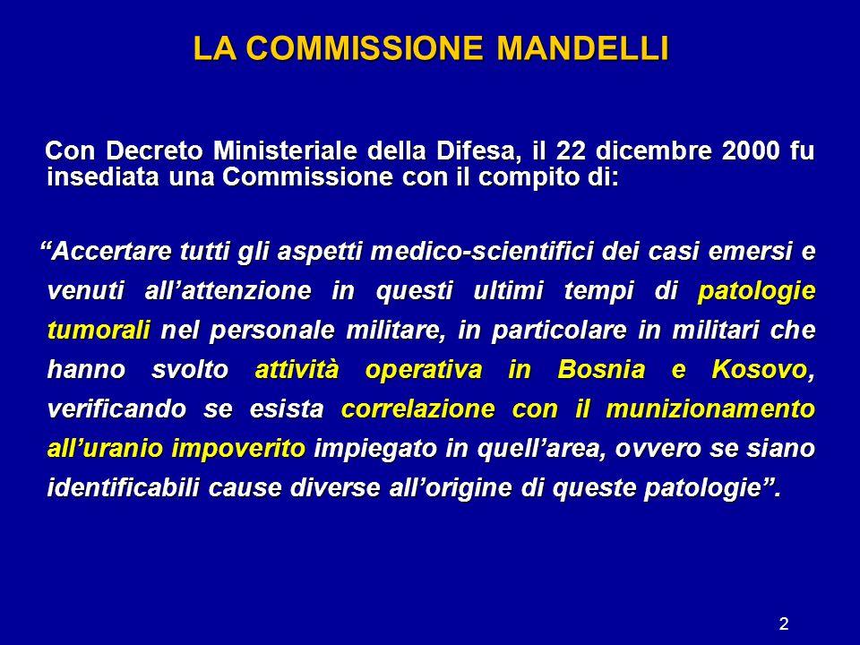 2 LA COMMISSIONE MANDELLI Con Decreto Ministeriale della Difesa, il 22 dicembre 2000 fu insediata una Commissione con il compito di: Con Decreto Minis