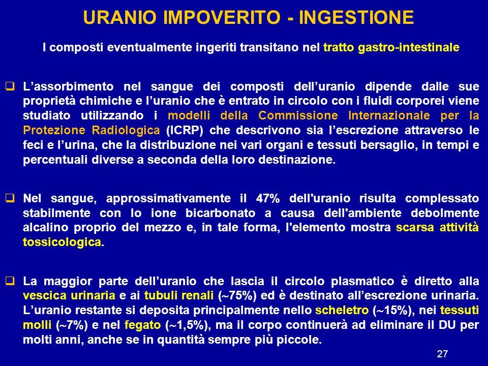 URANIO IMPOVERITO - INGESTIONE I composti eventualmente ingeriti transitano nel tratto gastro-intestinale  L'assorbimento nel sangue dei composti del