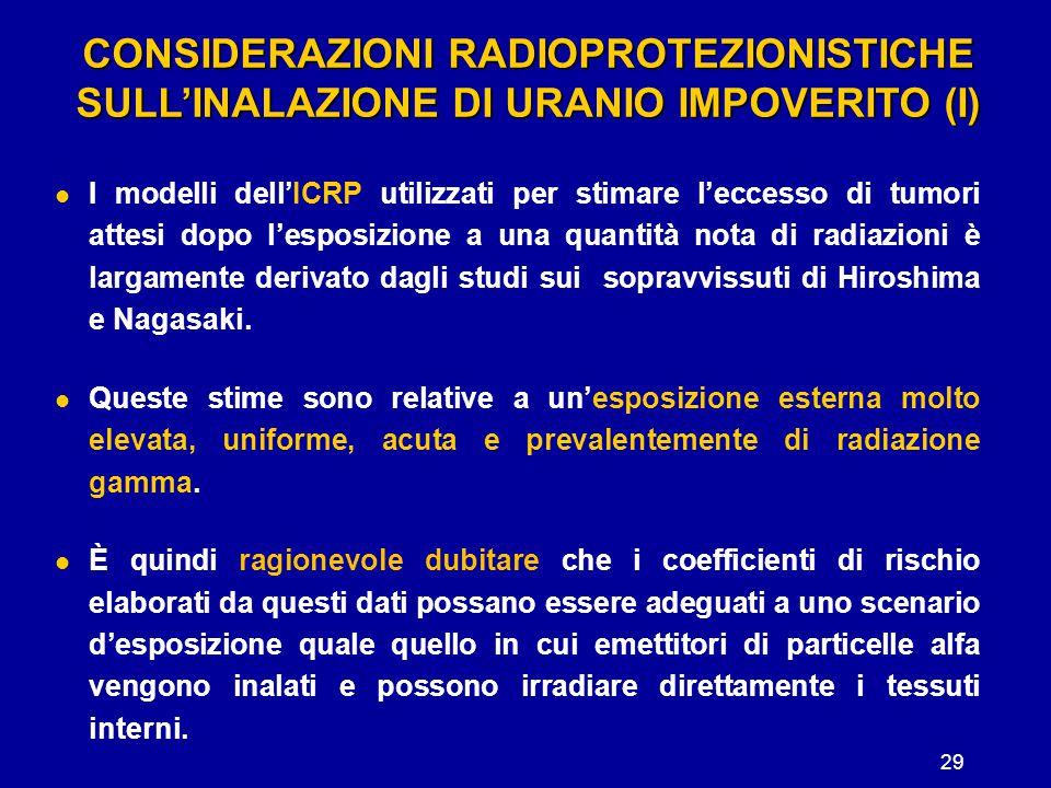 29 CONSIDERAZIONI RADIOPROTEZIONISTICHE SULL'INALAZIONE DI URANIO IMPOVERITO (I) I modelli dell'ICRP utilizzati per stimare l'eccesso di tumori attesi