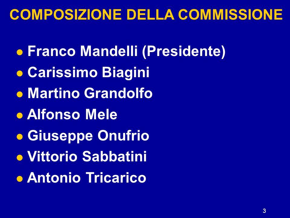 3 COMPOSIZIONE DELLA COMMISSIONE Franco Mandelli (Presidente) Carissimo Biagini Martino Grandolfo Alfonso Mele Giuseppe Onufrio Vittorio Sabbatini Ant
