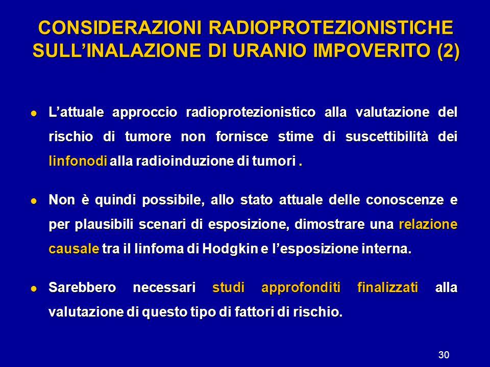30 CONSIDERAZIONI RADIOPROTEZIONISTICHE SULL'INALAZIONE DI URANIO IMPOVERITO (2) L'attuale approccio radioprotezionistico alla valutazione del rischio