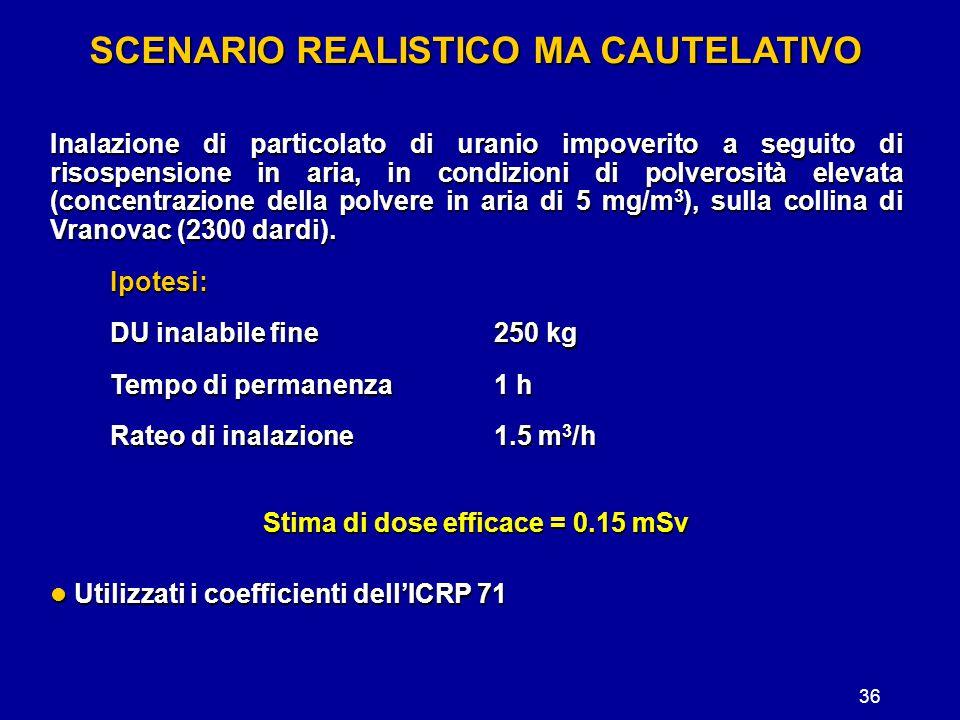 36 SCENARIO REALISTICO MA CAUTELATIVO Inalazione di particolato di uranio impoverito a seguito di risospensione in aria, in condizioni di polverosità