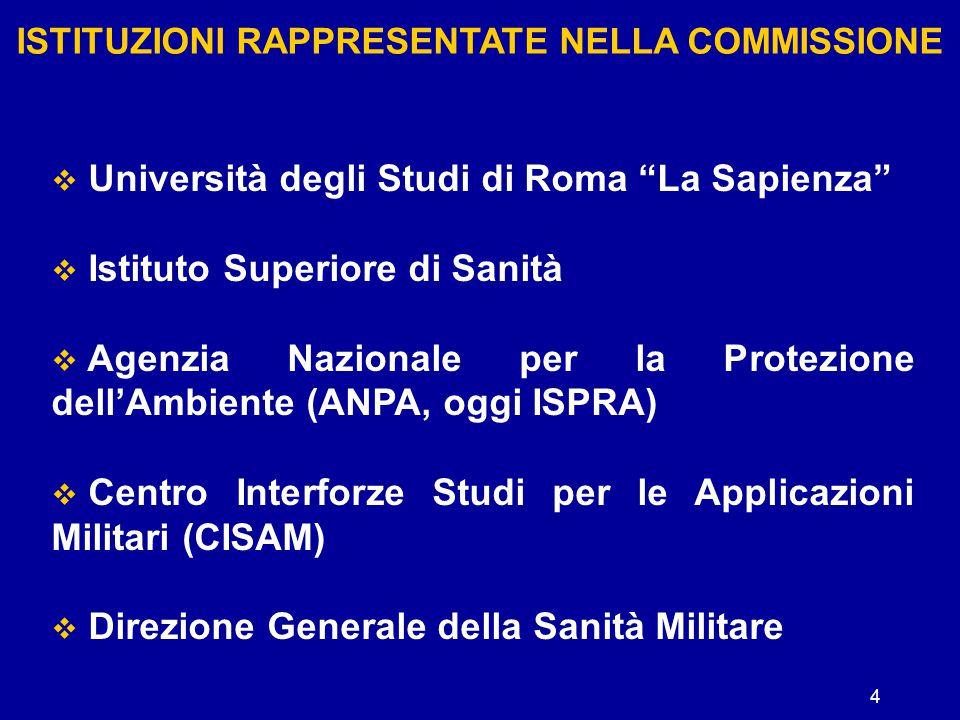 """4 ISTITUZIONI RAPPRESENTATE NELLA COMMISSIONE  Università degli Studi di Roma """"La Sapienza""""  Istituto Superiore di Sanità  Agenzia Nazionale per la"""