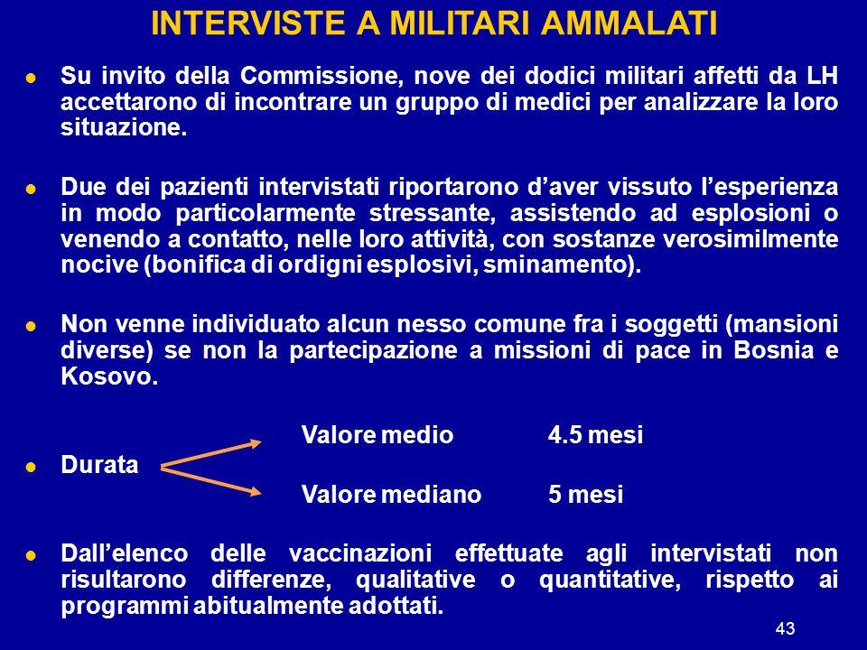 43 INTERVISTE A MILITARI AMMALATI Su invito della Commissione, nove dei dodici militari affetti da LH accettarono di incontrare un gruppo di medici pe