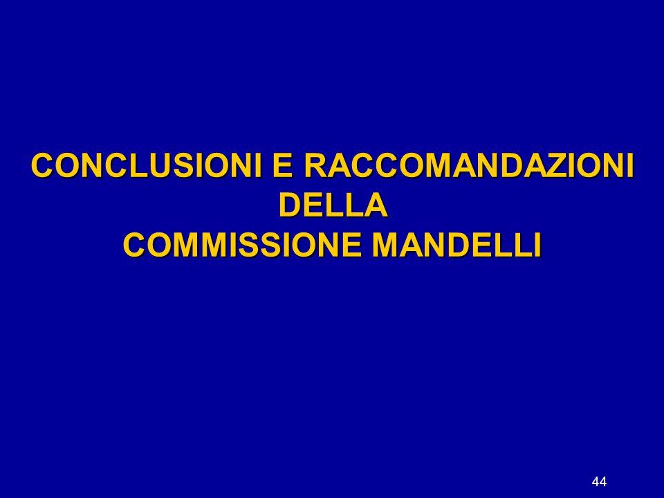 44 CONCLUSIONI E RACCOMANDAZIONI DELLA COMMISSIONE MANDELLI