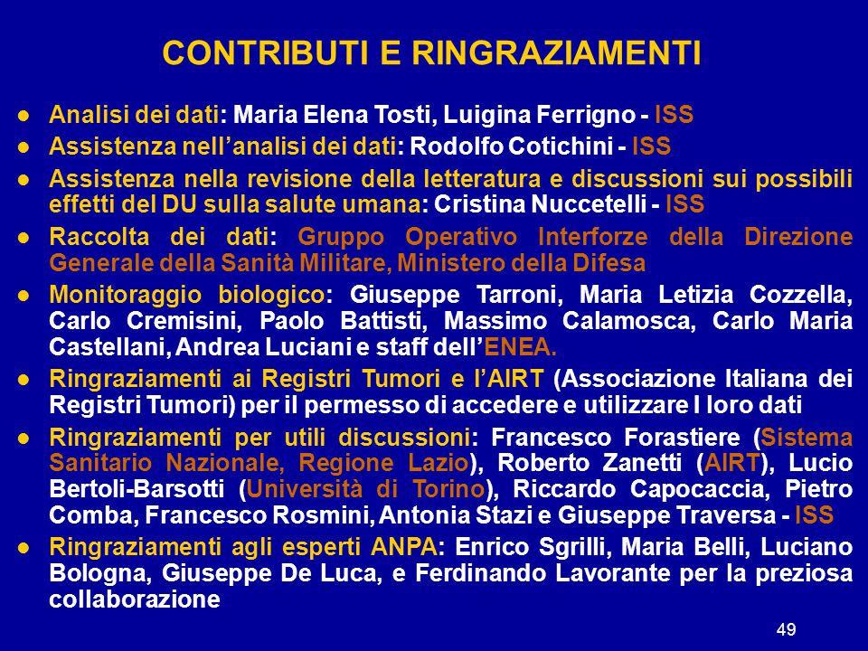 49 CONTRIBUTI E RINGRAZIAMENTI Analisi dei dati: Maria Elena Tosti, Luigina Ferrigno - ISS Assistenza nell'analisi dei dati: Rodolfo Cotichini - ISS A