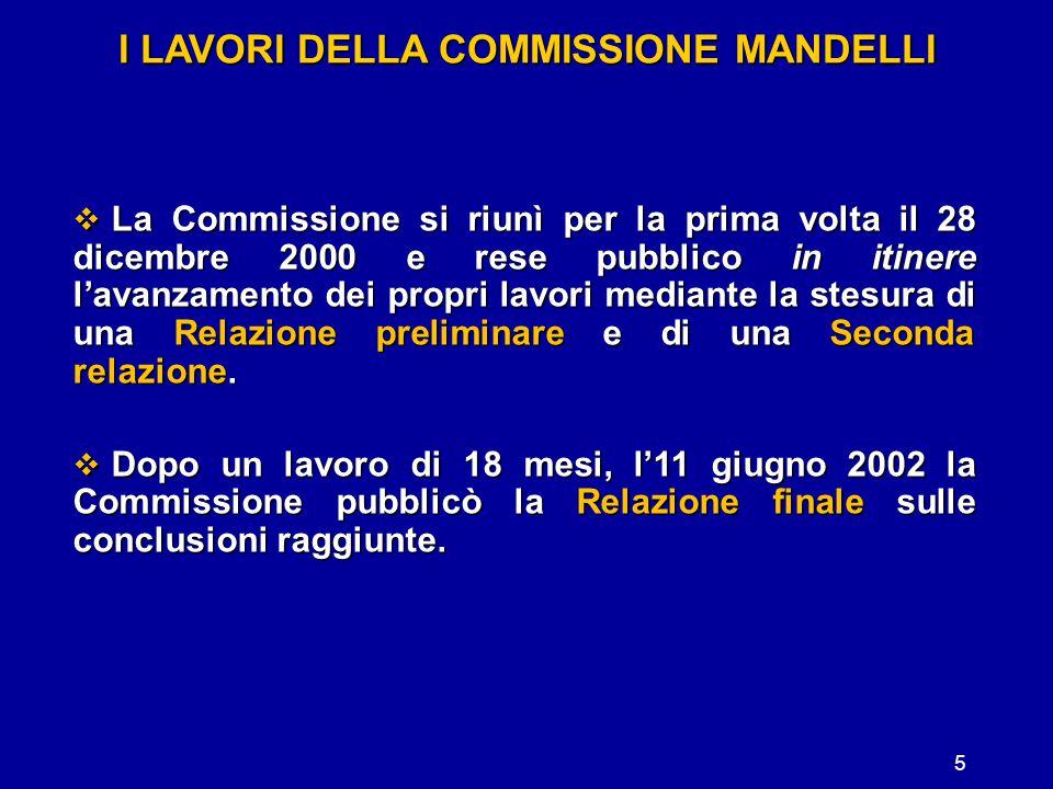 5 I LAVORI DELLA COMMISSIONE MANDELLI  La Commissione si riunì per la prima volta il 28 dicembre 2000 e rese pubblico in itinere l'avanzamento dei pr