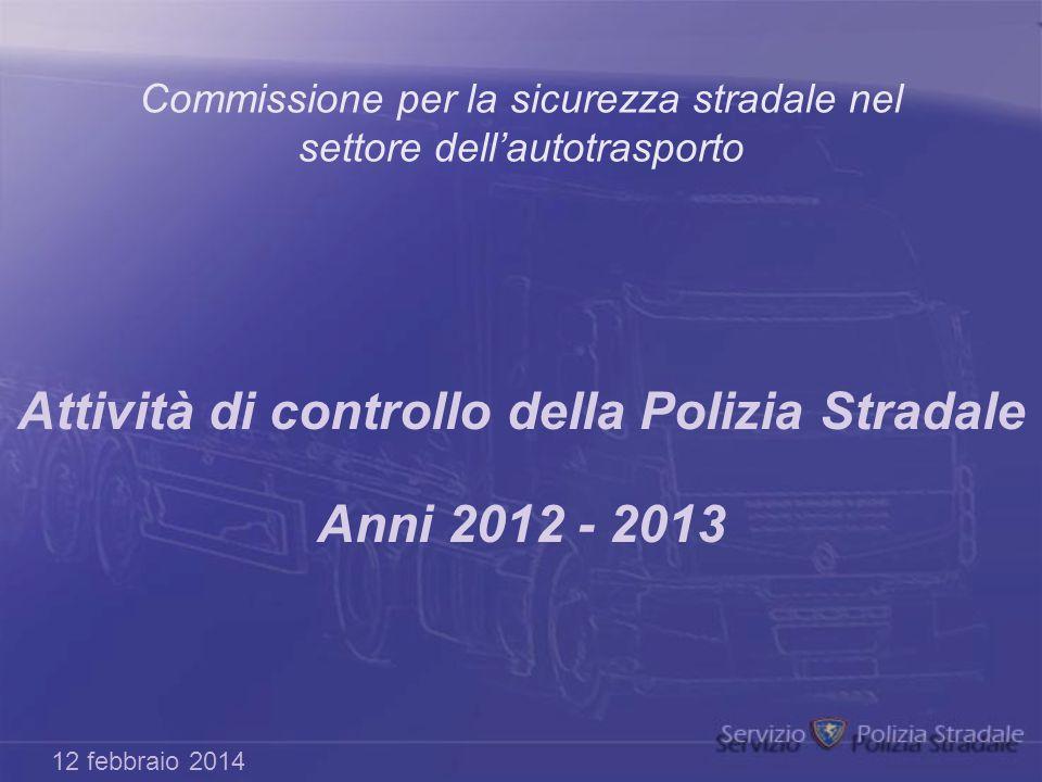 Commissione per la sicurezza stradale nel settore dell'autotrasporto Attività di controllo della Polizia Stradale Anni 2012 - 2013 12 febbraio 2014