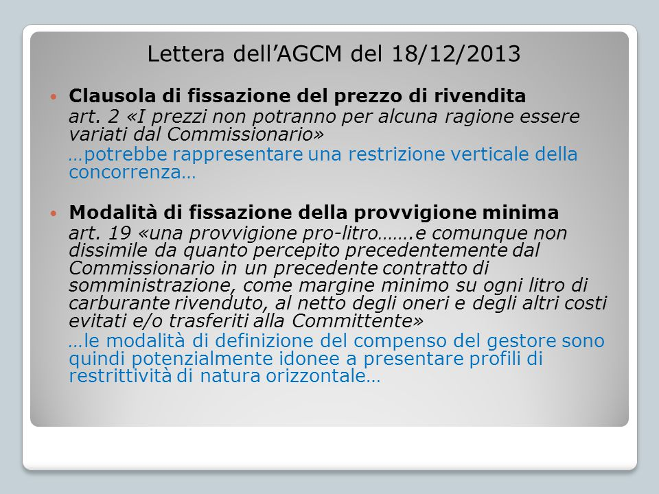 Lettera dell'AGCM del 03/04/2014 Clausola di fissazione del prezzo di rivendita art.