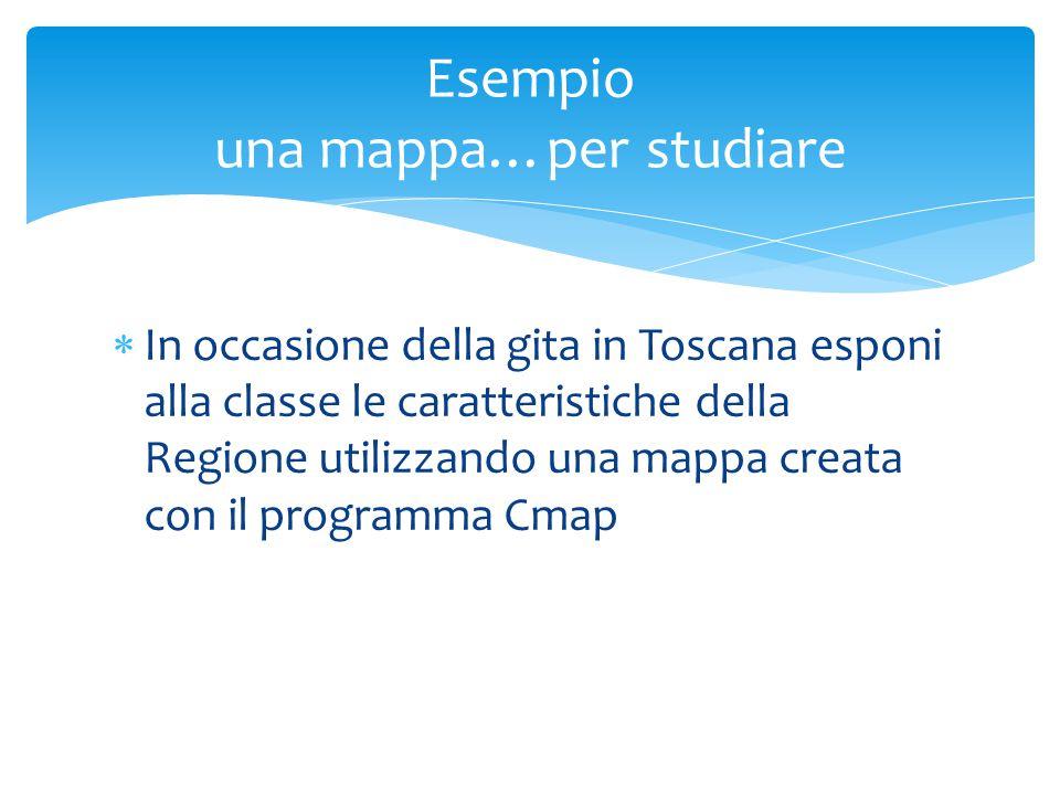  In occasione della gita in Toscana esponi alla classe le caratteristiche della Regione utilizzando una mappa creata con il programma Cmap Esempio una mappa…per studiare