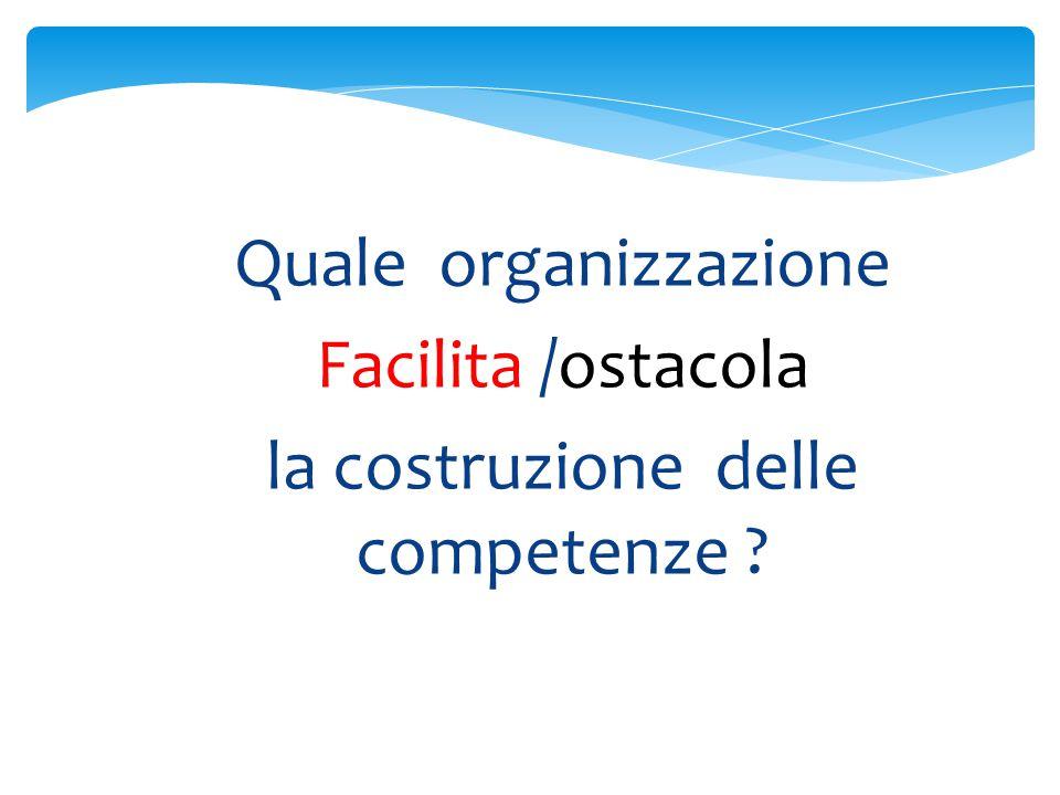 Quale organizzazione Facilita /ostacola la costruzione delle competenze ?