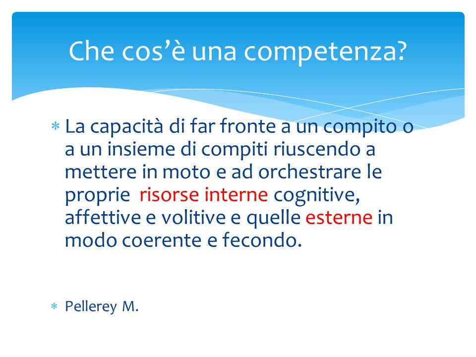  La competenza non si insegna trasferendo conoscenze e abilità (approccio trasmissivo/istruzionista), ma allenandosi ad utilizzare conoscenze e abilità (approccio cooperativo/costruttivista).