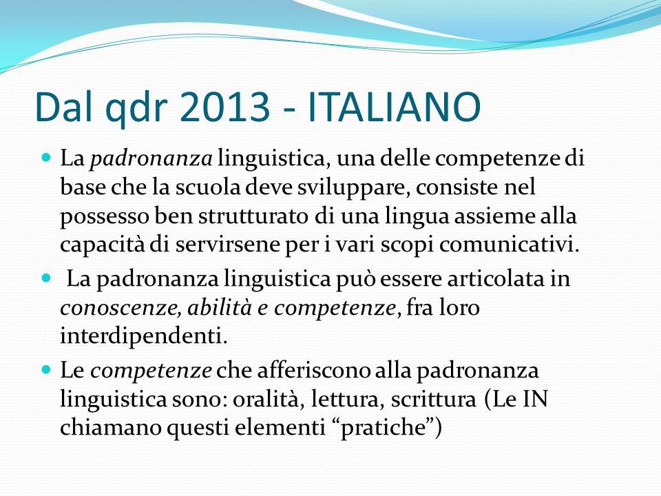 Dal qdr 2013 - ITALIANO La padronanza linguistica, una delle competenze di base che la scuola deve sviluppare, consiste nel possesso ben strutturato d