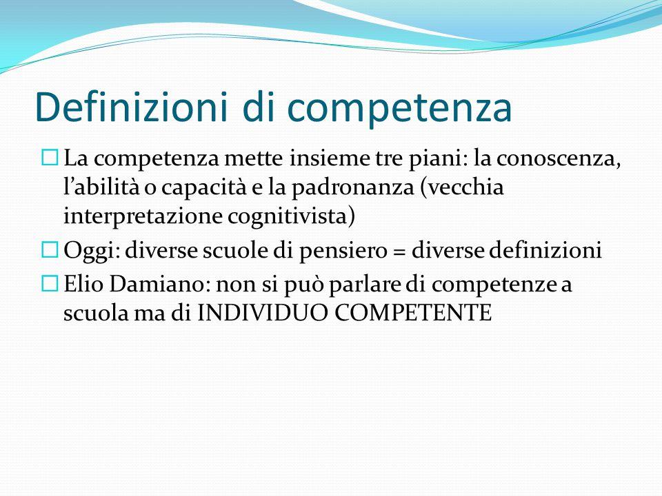Definizioni di competenza  La competenza mette insieme tre piani: la conoscenza, l'abilità o capacità e la padronanza (vecchia interpretazione cognit