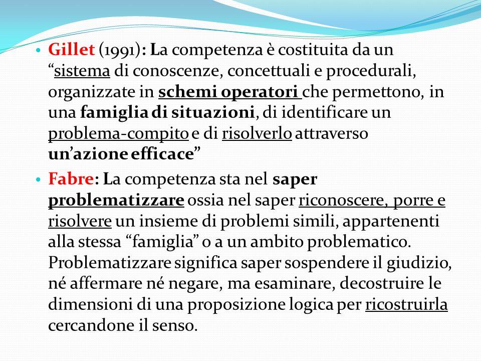 """Gillet (1991): La competenza è costituita da un """"sistema di conoscenze, concettuali e procedurali, organizzate in schemi operatori che permettono, in"""