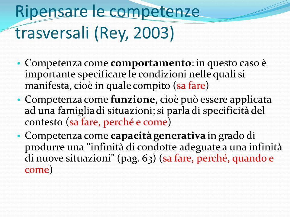 Ripensare le competenze trasversali (Rey, 2003) Competenza come comportamento: in questo caso è importante specificare le condizioni nelle quali si ma