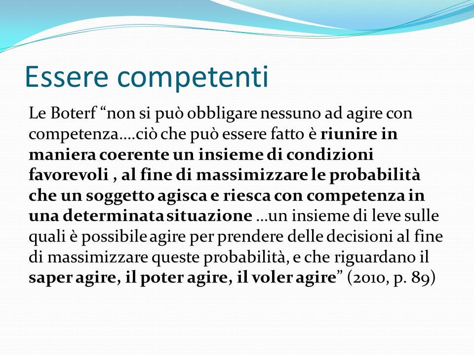 """Essere competenti Le Boterf """"non si può obbligare nessuno ad agire con competenza….ciò che può essere fatto è riunire in maniera coerente un insieme d"""