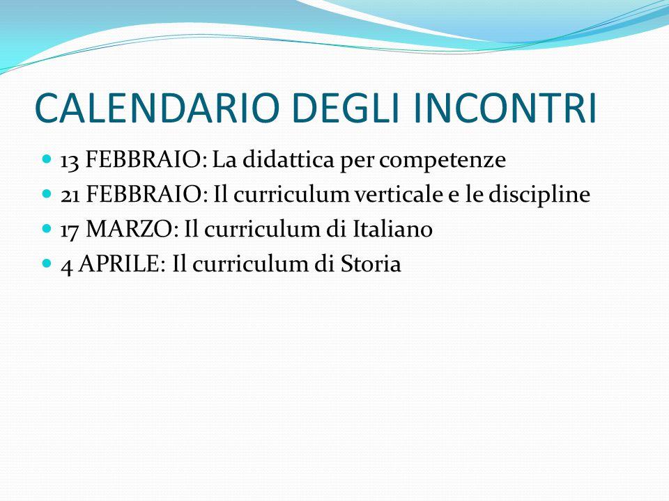 CALENDARIO DEGLI INCONTRI 13 FEBBRAIO: La didattica per competenze 21 FEBBRAIO: Il curriculum verticale e le discipline 17 MARZO: Il curriculum di Ita