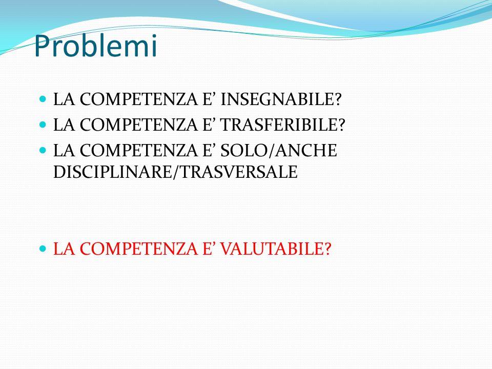 Problemi LA COMPETENZA E' INSEGNABILE? LA COMPETENZA E' TRASFERIBILE? LA COMPETENZA E' SOLO/ANCHE DISCIPLINARE/TRASVERSALE LA COMPETENZA E' VALUTABILE