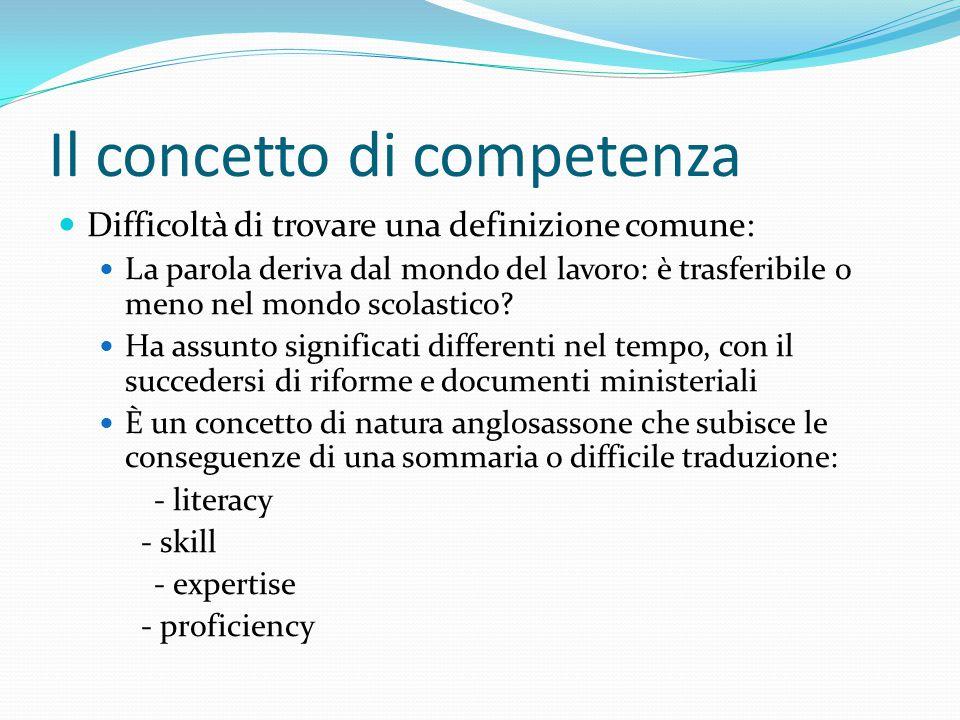 Il concetto di competenza Difficoltà di trovare una definizione comune: La parola deriva dal mondo del lavoro: è trasferibile o meno nel mondo scolast
