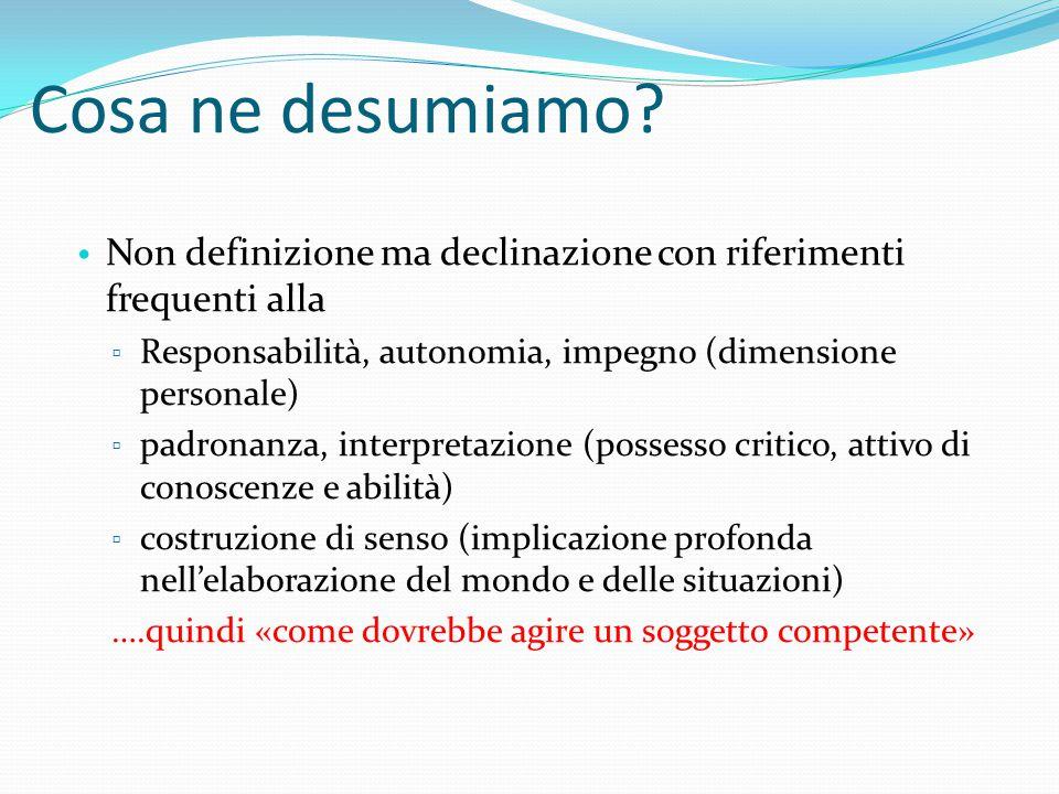 Cosa ne desumiamo? Non definizione ma declinazione con riferimenti frequenti alla ▫ Responsabilità, autonomia, impegno (dimensione personale) ▫ padron