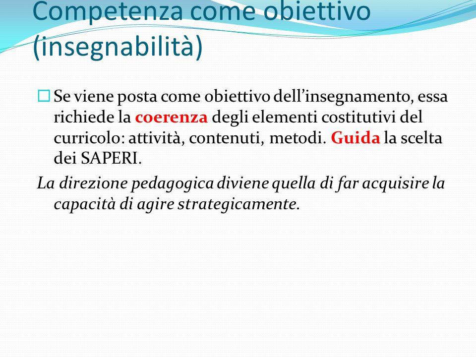 Competenza come obiettivo (insegnabilità)  Se viene posta come obiettivo dell'insegnamento, essa richiede la coerenza degli elementi costitutivi del