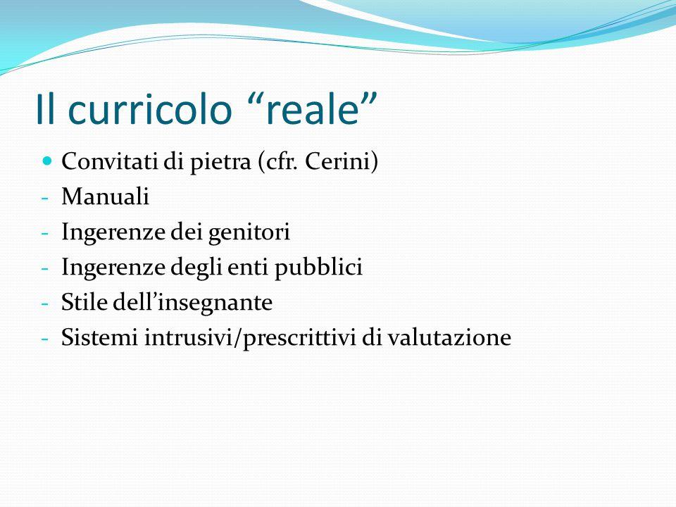 """Il curricolo """"reale"""" Convitati di pietra (cfr. Cerini) - Manuali - Ingerenze dei genitori - Ingerenze degli enti pubblici - Stile dell'insegnante - Si"""