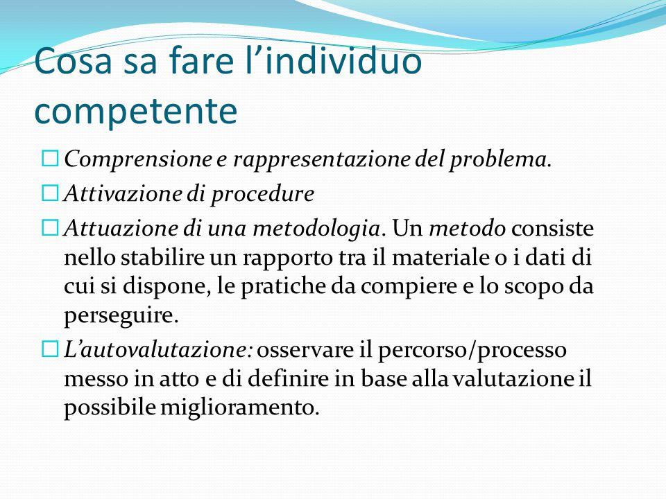 Cosa sa fare l'individuo competente  Comprensione e rappresentazione del problema.  Attivazione di procedure  Attuazione di una metodologia. Un met