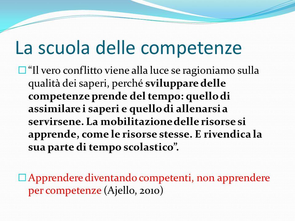 """La scuola delle competenze  """"Il vero conflitto viene alla luce se ragioniamo sulla qualità dei saperi, perché sviluppare delle competenze prende del"""