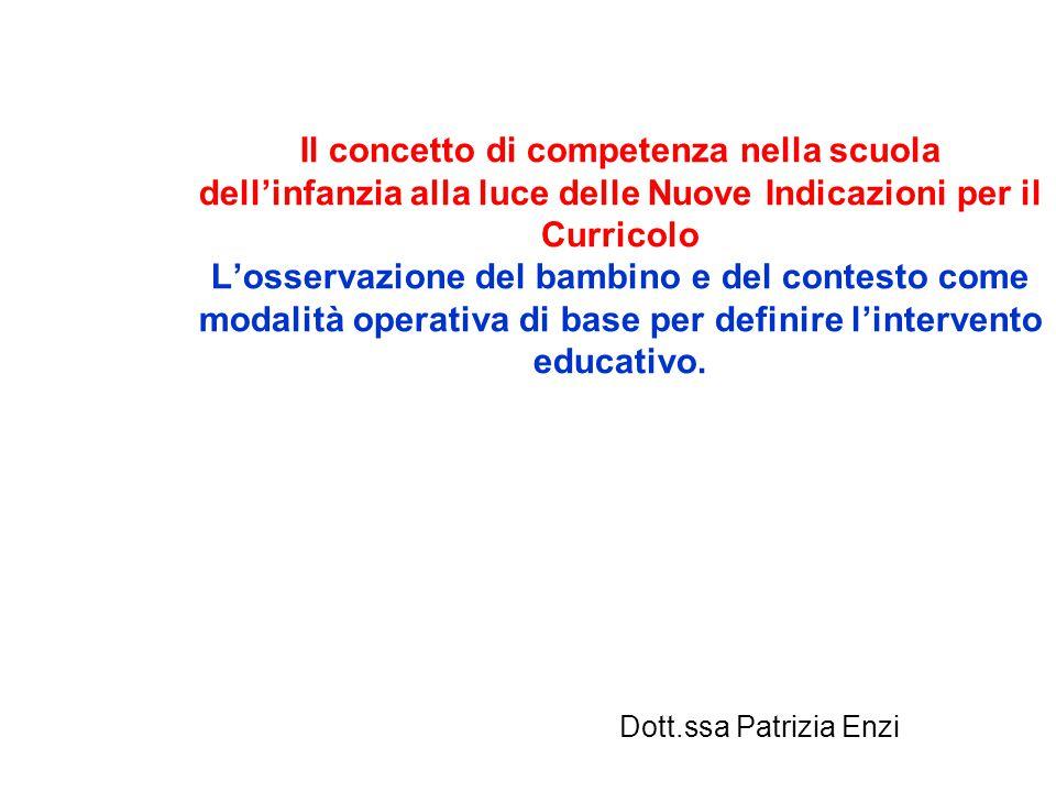 Il concetto di competenza nella scuola dell'infanzia alla luce delle Nuove Indicazioni per il Curricolo L'osservazione del bambino e del contesto come