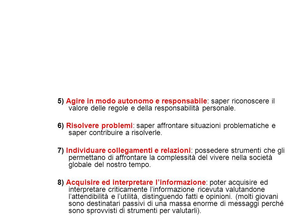 5) Agire in modo autonomo e responsabile: saper riconoscere il valore delle regole e della responsabilità personale. 6) Risolvere problemi: saper affr