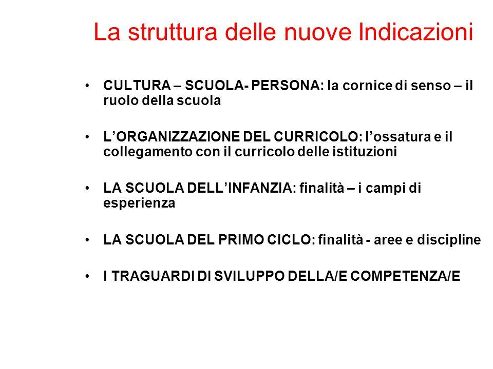 La struttura delle nuove Indicazioni CULTURA – SCUOLA- PERSONA: la cornice di senso – il ruolo della scuola L'ORGANIZZAZIONE DEL CURRICOLO: l'ossatura