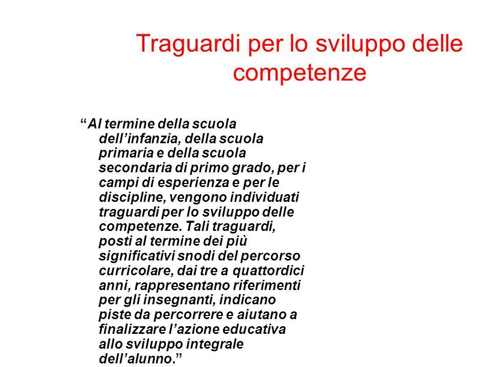 """Traguardi per lo sviluppo delle competenze """"Al termine della scuola dell'infanzia, della scuola primaria e della scuola secondaria di primo grado, per"""