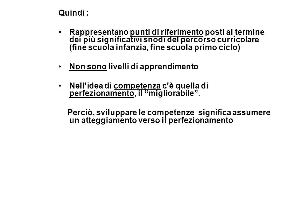 Quindi : Rappresentano punti di riferimento posti al termine dei più significativi snodi del percorso curricolare (fine scuola infanzia, fine scuola p