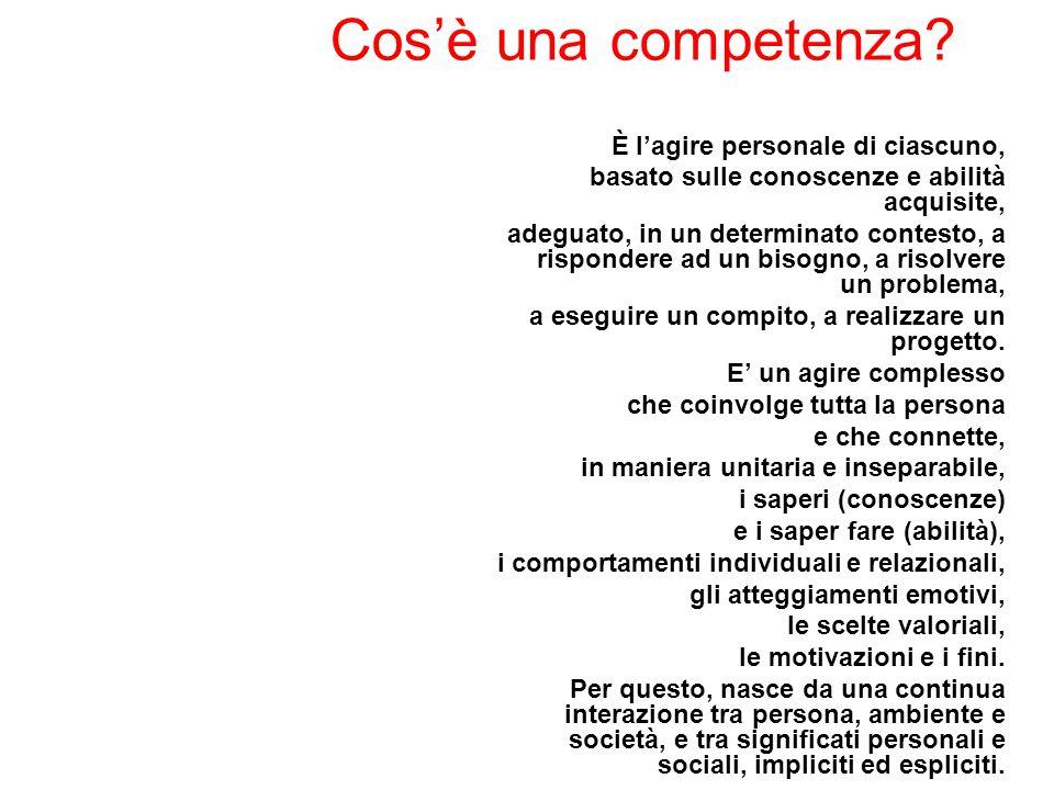 Cos'è una competenza? È l'agire personale di ciascuno, basato sulle conoscenze e abilità acquisite, adeguato, in un determinato contesto, a rispondere