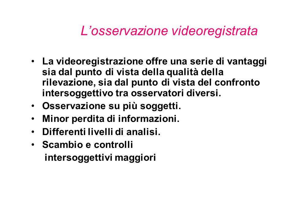 L'osservazione videoregistrata La videoregistrazione offre una serie di vantaggi sia dal punto di vista della qualità della rilevazione, sia dal punto di vista del confronto intersoggettivo tra osservatori diversi.