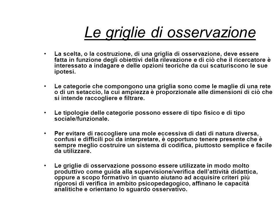 Le griglie di osservazione La scelta, o la costruzione, di una griglia di osservazione, deve essere fatta in funzione degli obiettivi della rilevazion