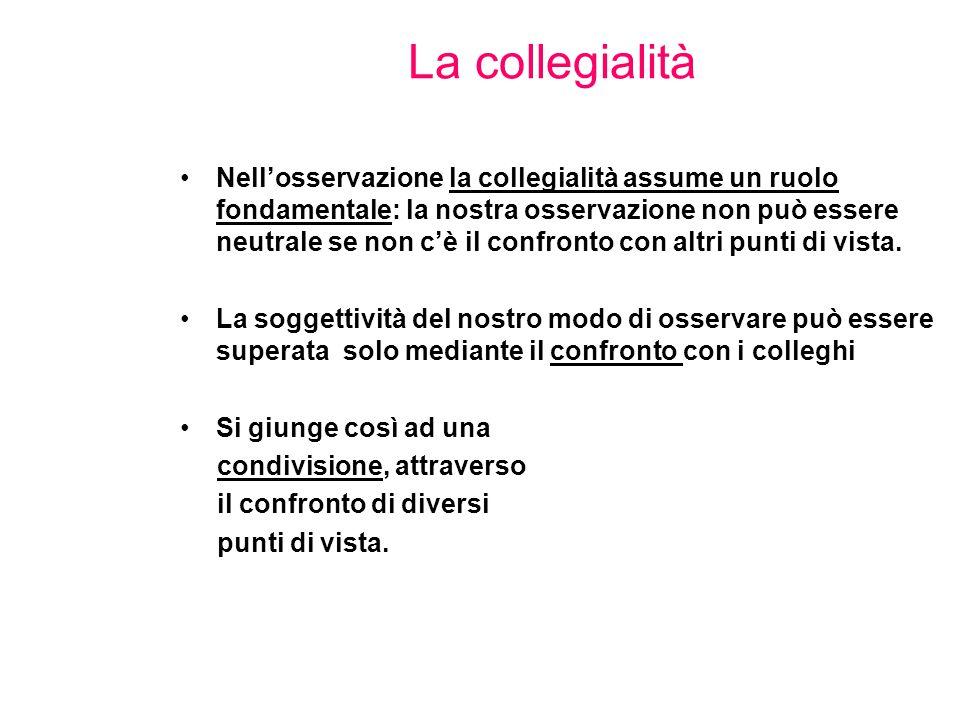 La collegialità Nell'osservazione la collegialità assume un ruolo fondamentale: la nostra osservazione non può essere neutrale se non c'è il confronto con altri punti di vista.